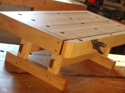 small workbench made of maple